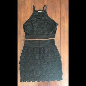 black crop top skirt set embroidered